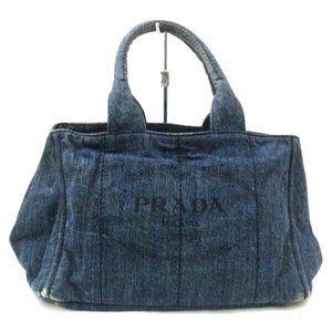 Auth Prada Hand Bag Blue Denim Satchel #6297P88